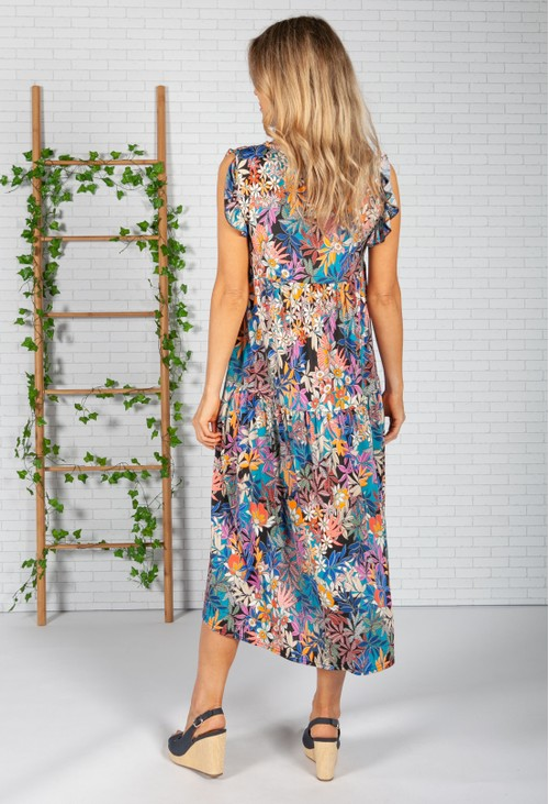 Zapara Tropic Print Dress in Black