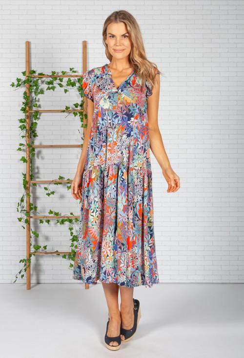 Zapara Tropic Print Dress in Navy