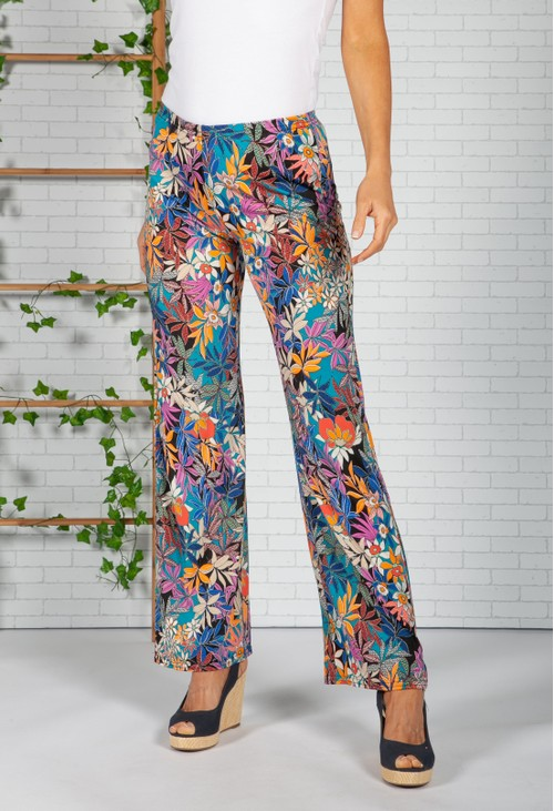 Zapara Tropic Print Trousers in Black