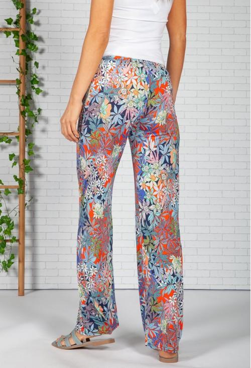Zapara Tropic Print Trousers in Navy