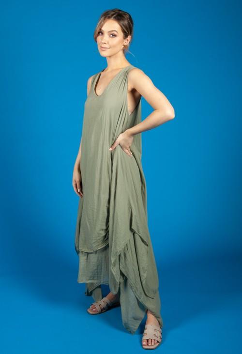 Zapara Khaki Boho dress
