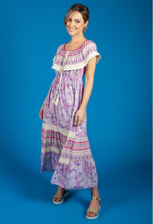 Zapara Bardot Floral Mix Dress in Lilac