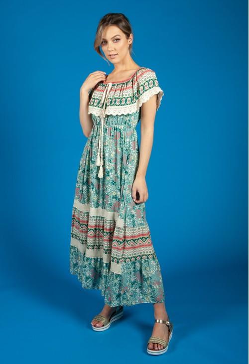 Zapara Bardot Floral Mix Dress in Green
