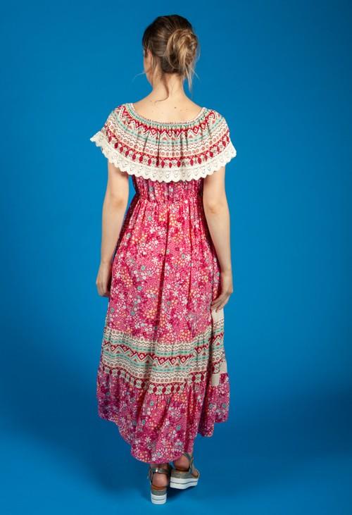 Zapara Bardot Floral Mix Dress in Deep Pink
