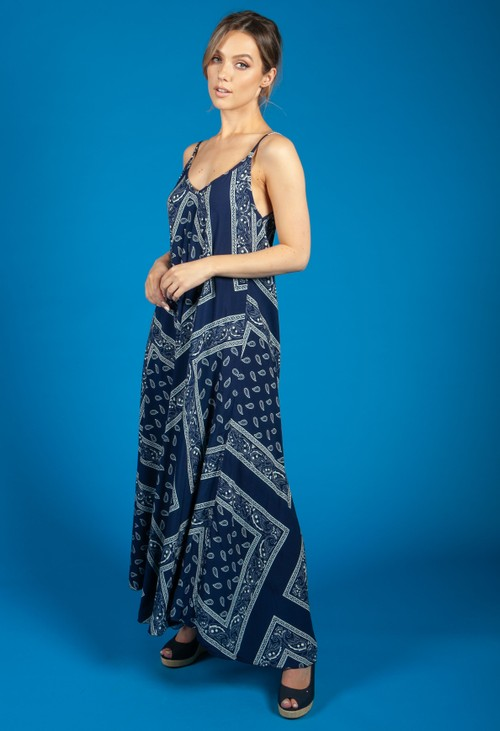 Zapara Navy Paisley Print Summer Dress