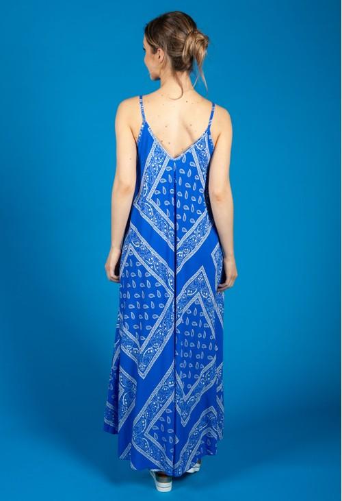 Zapara Royal Blue Paisley Print Summer Dress