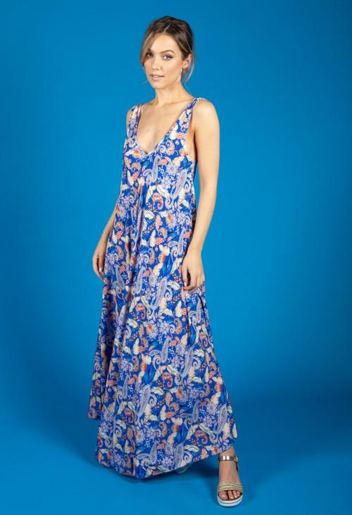 Zapara Vintage Print Summer Dress in Royal Blue
