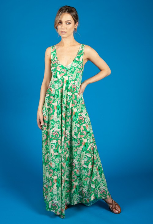 Zapara Vintage Print Summer Dress in Emerald Green