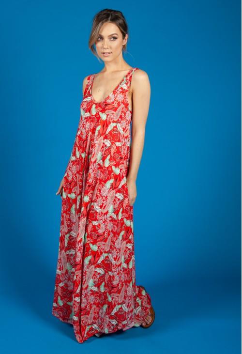 Zapara Vintage Print Summer Dress in Red