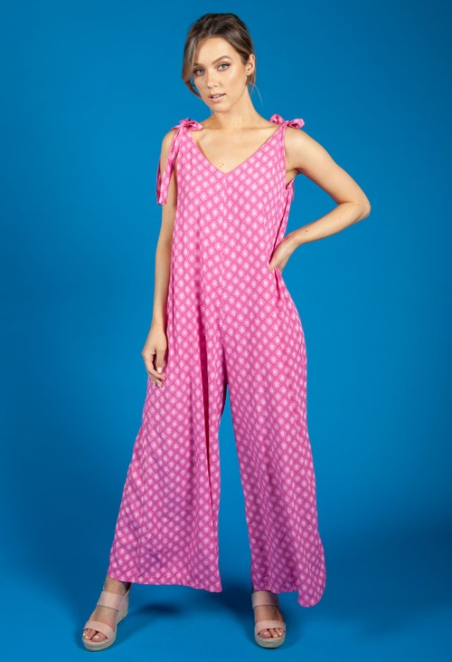 Zapara Pink Printed Jumpsuit