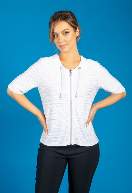 Betty Barclay WAVE EFFECT ZIP JACKET IN WHITE