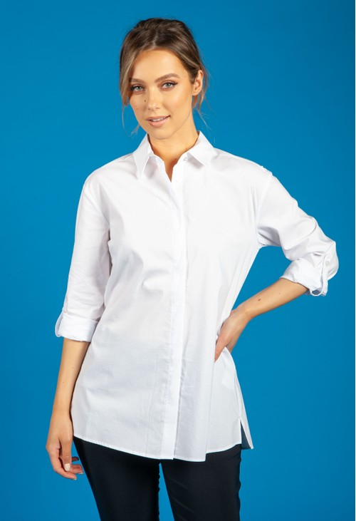 Betty Barclay Pointed Collar Blouse in White