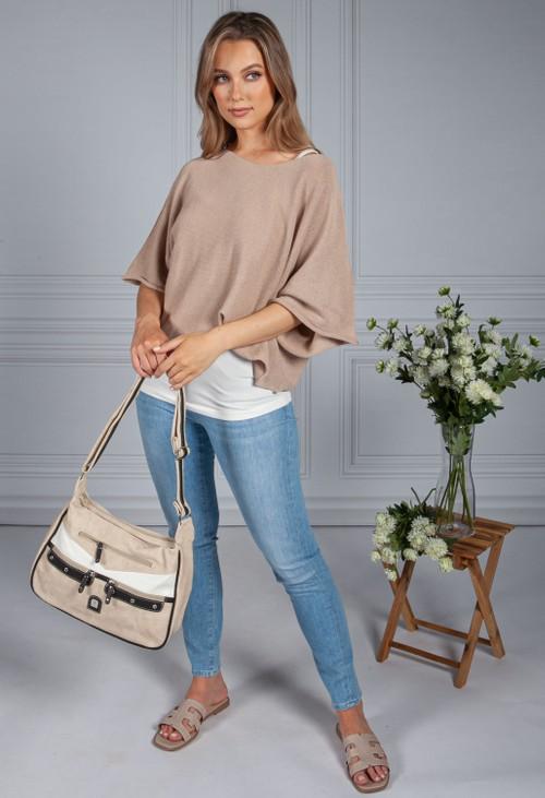 Pamela Scott Beige Contrast Pocket Detail Bag