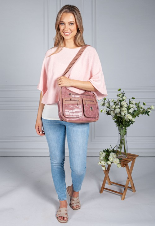 Pamela Scott Two Tone Mauve Pocket Detail Bag