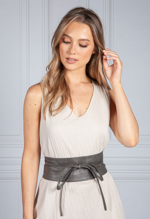 PS Accessories GREY FAUX LEATHER TIE AROUND BELT