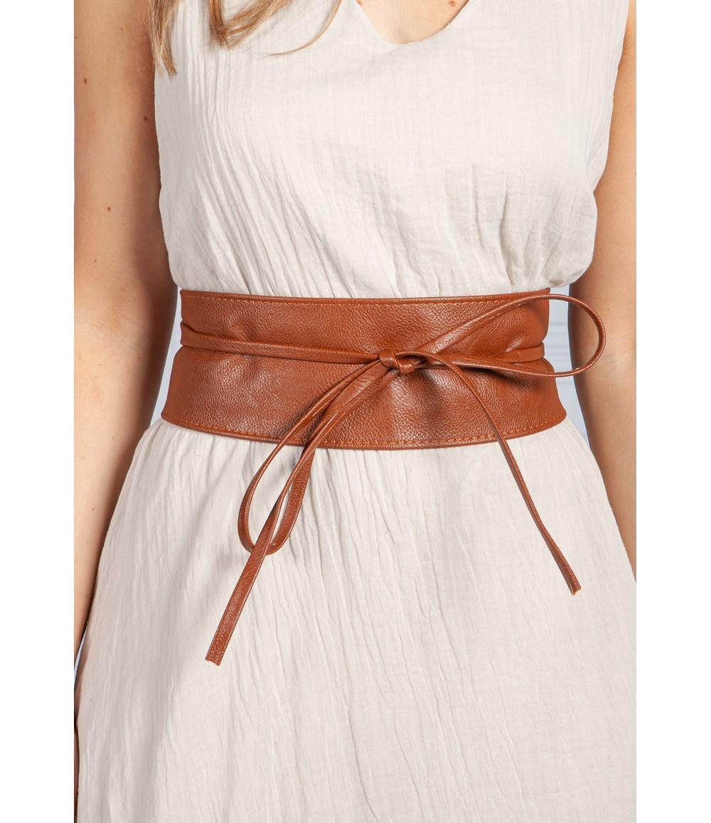 PS Accessories Tan Obi Faux Leather Belt