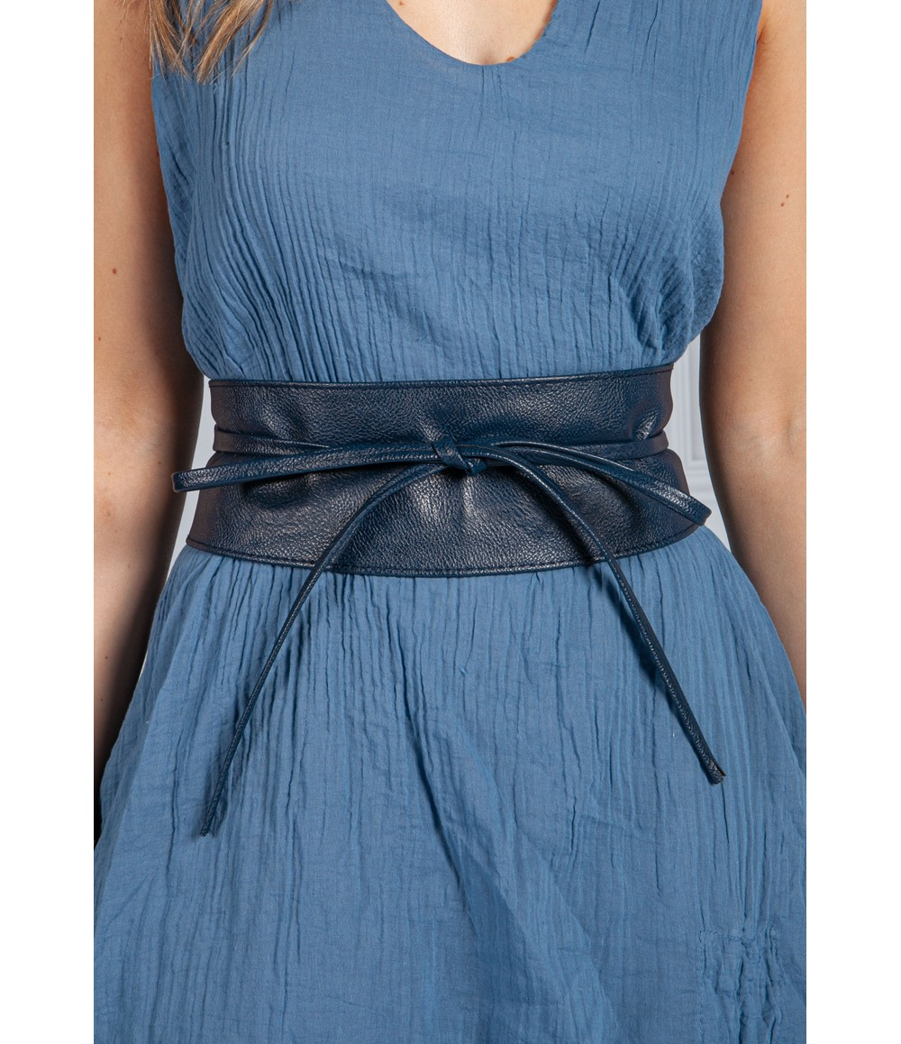 PS Accessories Navy Obi Faux Leather Belt