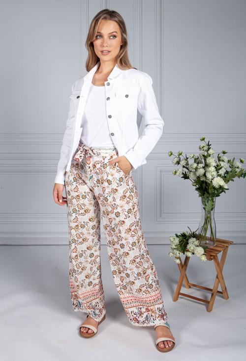 Pamela Scott Vintage Floral Print Trousers in Cream