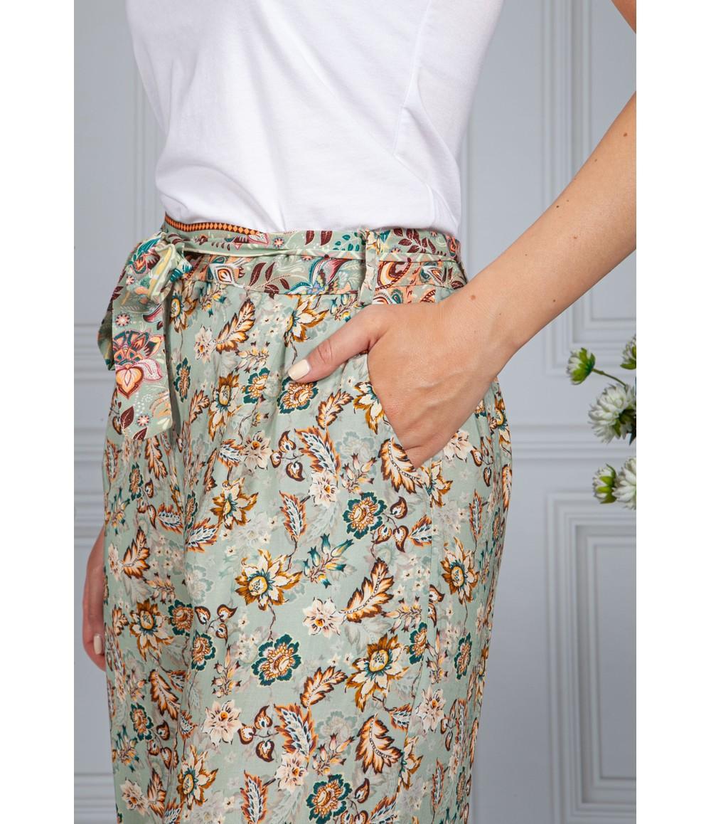 Pamela Scott Vintage Floral Print Trousers in Sage