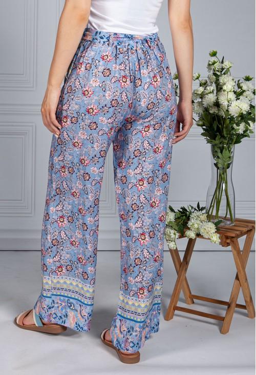 Pamela Scott Vintage Floral Print Trousers in Corn Flower Blue