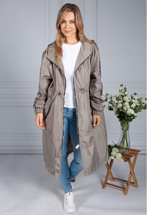 Pamela Scott Midi Summer Jacket in Beige