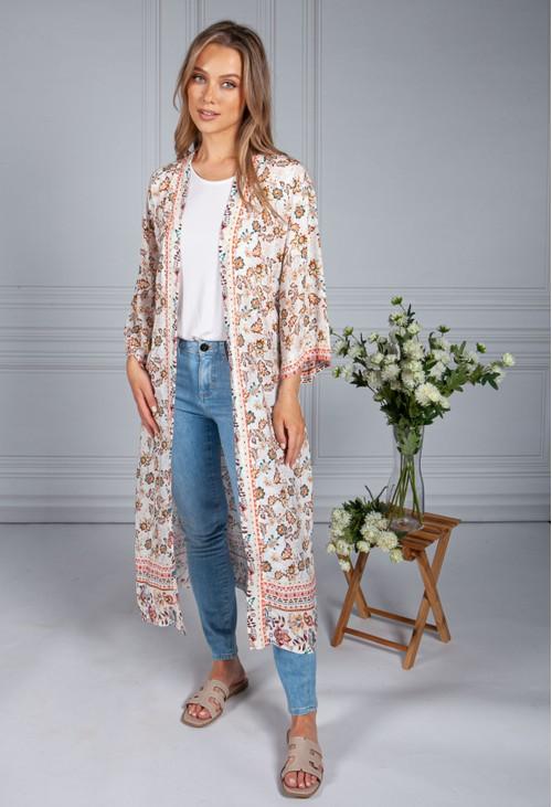 Pamela Scott Vintage Floral Print Long Kimono Style Cardigan in Cream