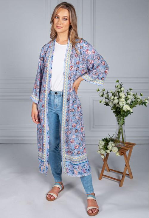 Pamela Scott Vintage Floral Print Long Kimono Style Cardigan in Corn Flower Blue