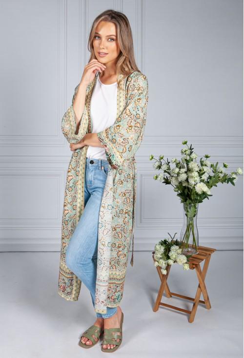 Pamela Scott Vintage Floral Print Long Kimono Style Cardigan in Sage