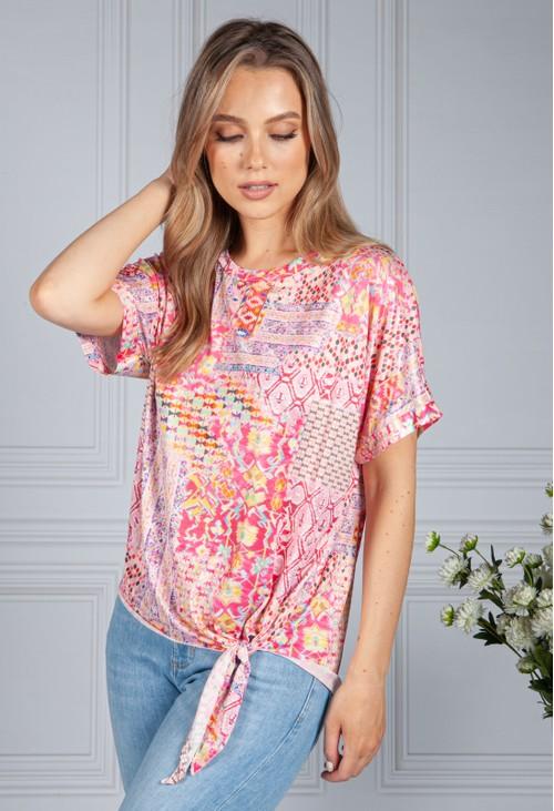 Zapara Silk Feel Kaleidoscope Print Top in Pink