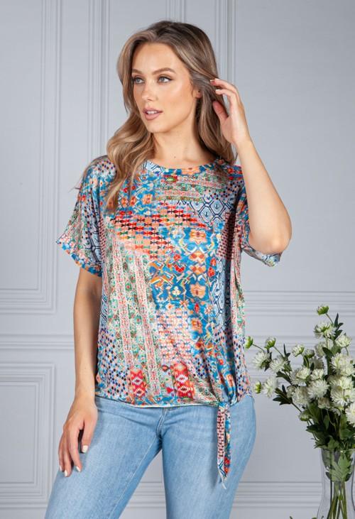 Zapara Silk Feel Kaleidoscope Print Top in Blue