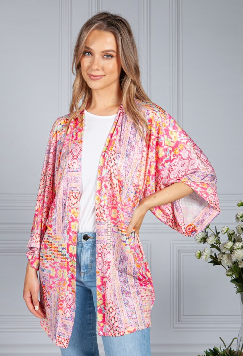 Zapara Silk Feel Kaleidoscope Print Cardigan in Pink