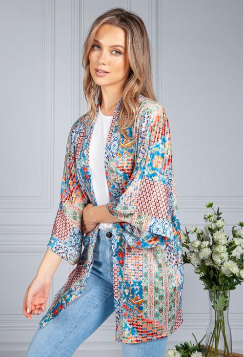 Zapara Silk Feel Kaleidoscope Print Cardigan in Blue