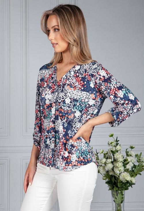 Sophie B Textured Floral V-Neck Top