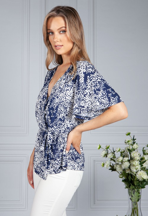 Sophie B Wrap Style Wall Flower Print Top