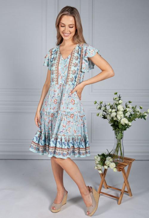 Pamela Scott All The Blues Floral Dress