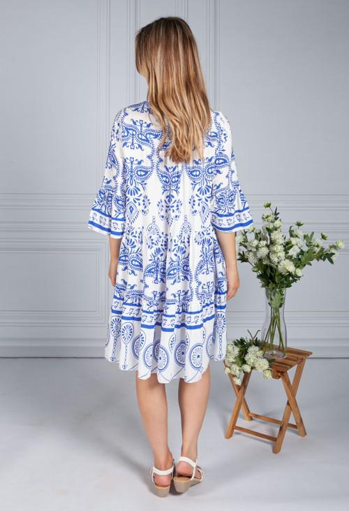 Pamela Scott Blue Paisley Tiered Dress