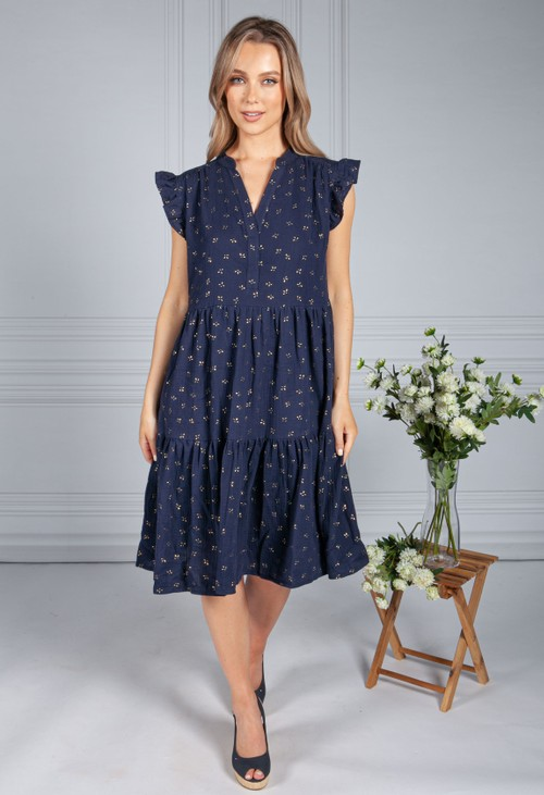 Pamela Scott Navy & Gold Smock Dress