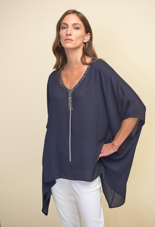 Joseph Ribkoff Handkerchief Hem Tunic in Midnight Blue
