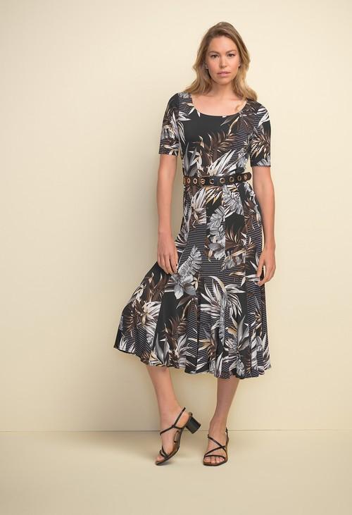 Joseph Ribkoff Tropical Print Short Sleeve Dress