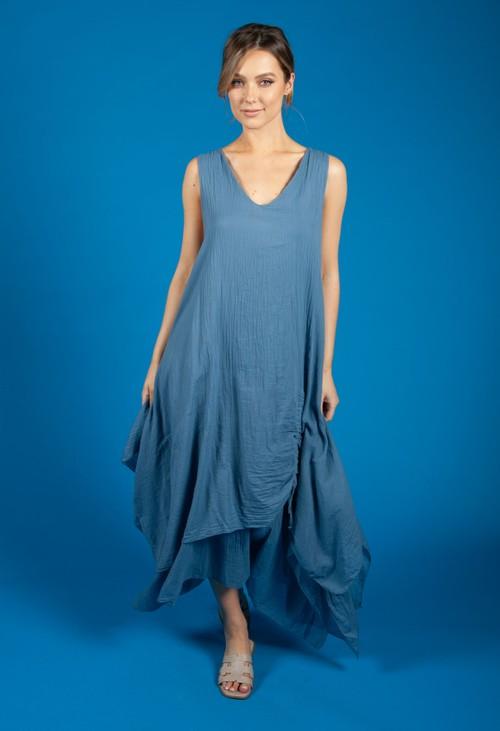 Zapara Corn Flower Blue Boho Dress
