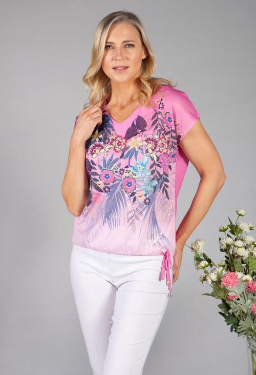 Twist Pink Floral Print Top