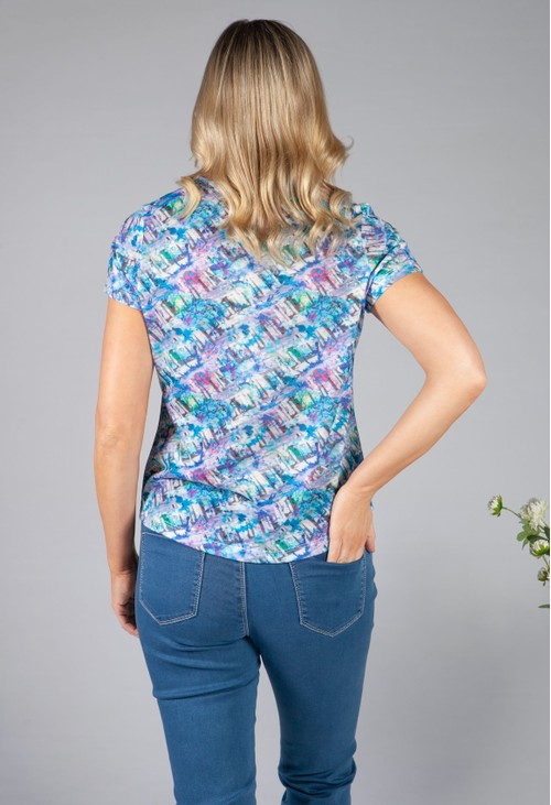 Twist Violet Abstract Print Top
