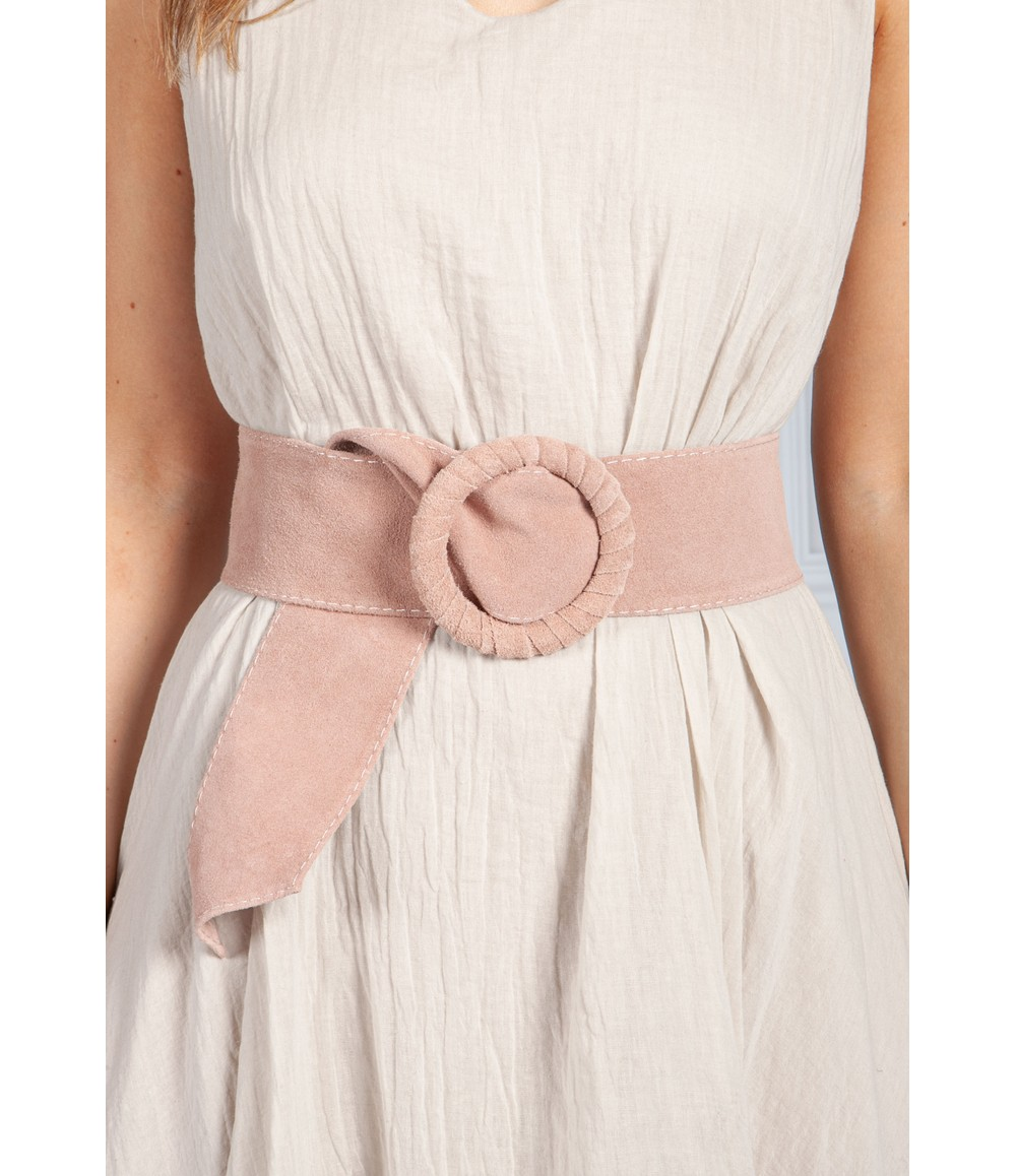 PS Accessories Pink Suede Belt
