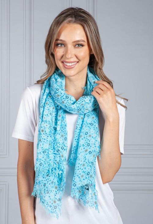 Pamela Scott Turquoise Forget Me Not Print scarf