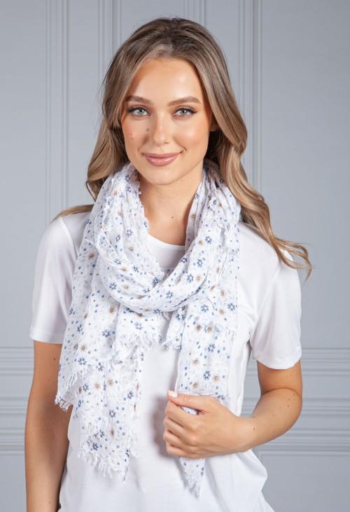 Pamela Scott Off-White Forget Me Not Print scarf