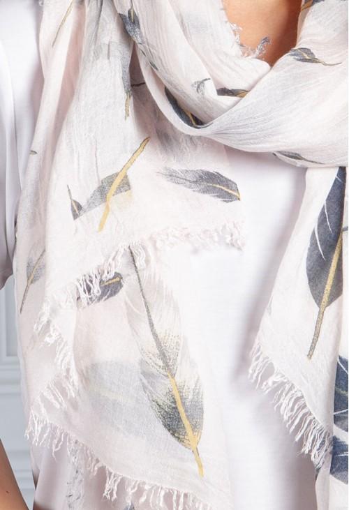 Pamela Scott Blush Pink Feathered Print Scarf