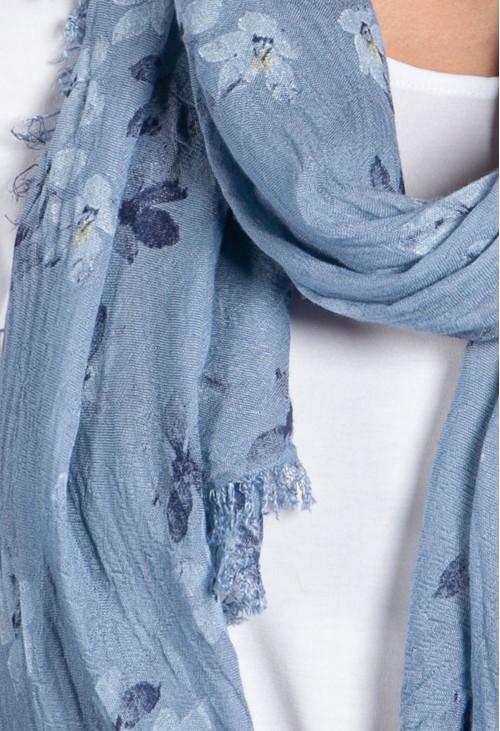 Pamela Scott Denim Blue Orchid Print Scarf