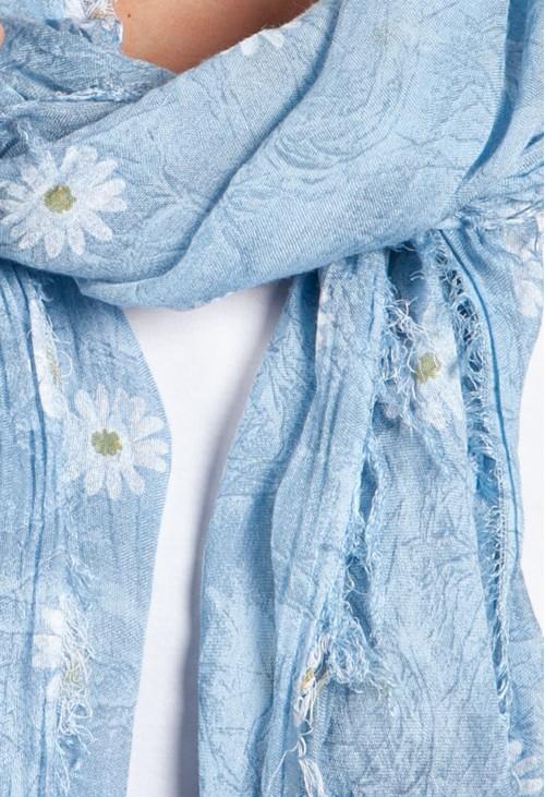 Pamela B Garden Daisy Print Scarf in Sky Blue