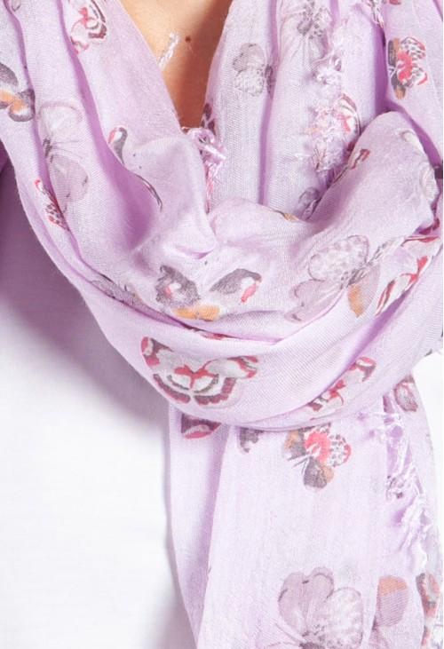 Pamela Scott Summer Butterfly Print Scarf in Lilac
