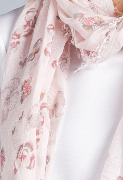Pamela Scott Summer Butterfly Print Scarf in Soft Rose